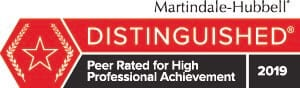 Martindale-Hubbell | Distinguished | Peer Rated for High Professional Achievement | 2019