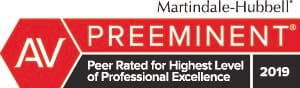 Martindale-Hubbell | Preeminent | Peer Rated for Highest Level of Professional Excellence | 2019